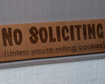 "Wood No Soliciting Sign ""Cookies"""