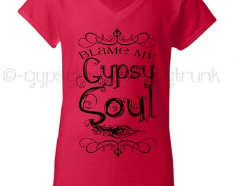 Gypsy Shirt - Gypsy Soul Shirt - Boho Chic - Gypsy Soul VNeck - Feather Print - Gypsy Top - Hippie Top - Gypsy Soul - Bohemian Fashion