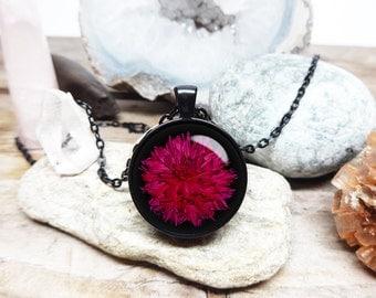 Beautiful Dahlia Flower Necklace Flower pendant flower jewelry Love goddess jewelry Florist necklace Black Dahlia Pendant gift for mother