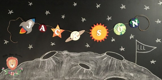 Personalized outer space name banner outer space birthday for Outer space decor for nursery