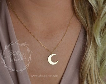 Moon Necklace, Crescent Moon Necklace, Sterling silver, gold filled, rose gold filled, gold moon necklace, gift for her LA134