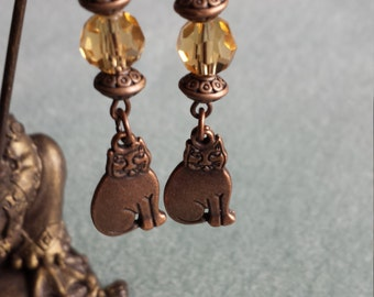 Antique Copper Kitties Dangle Earrings