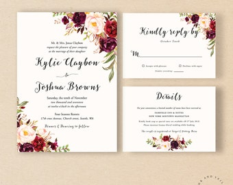 Bohemian Wedding Invitation Suite, Fall Wedding Invitation, Winter Wedding Invite Set, Marsala Burgundy Peach Blush, Rustic Boho Chic- Kylie