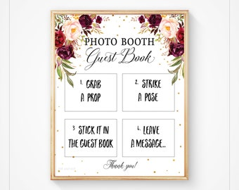 Wedding Photo booth Sign, Guest book Photo booth, Guestbook Sign, Instant Download, Floral Boho Guestbook Sign, 8x10- Vera, Kylie