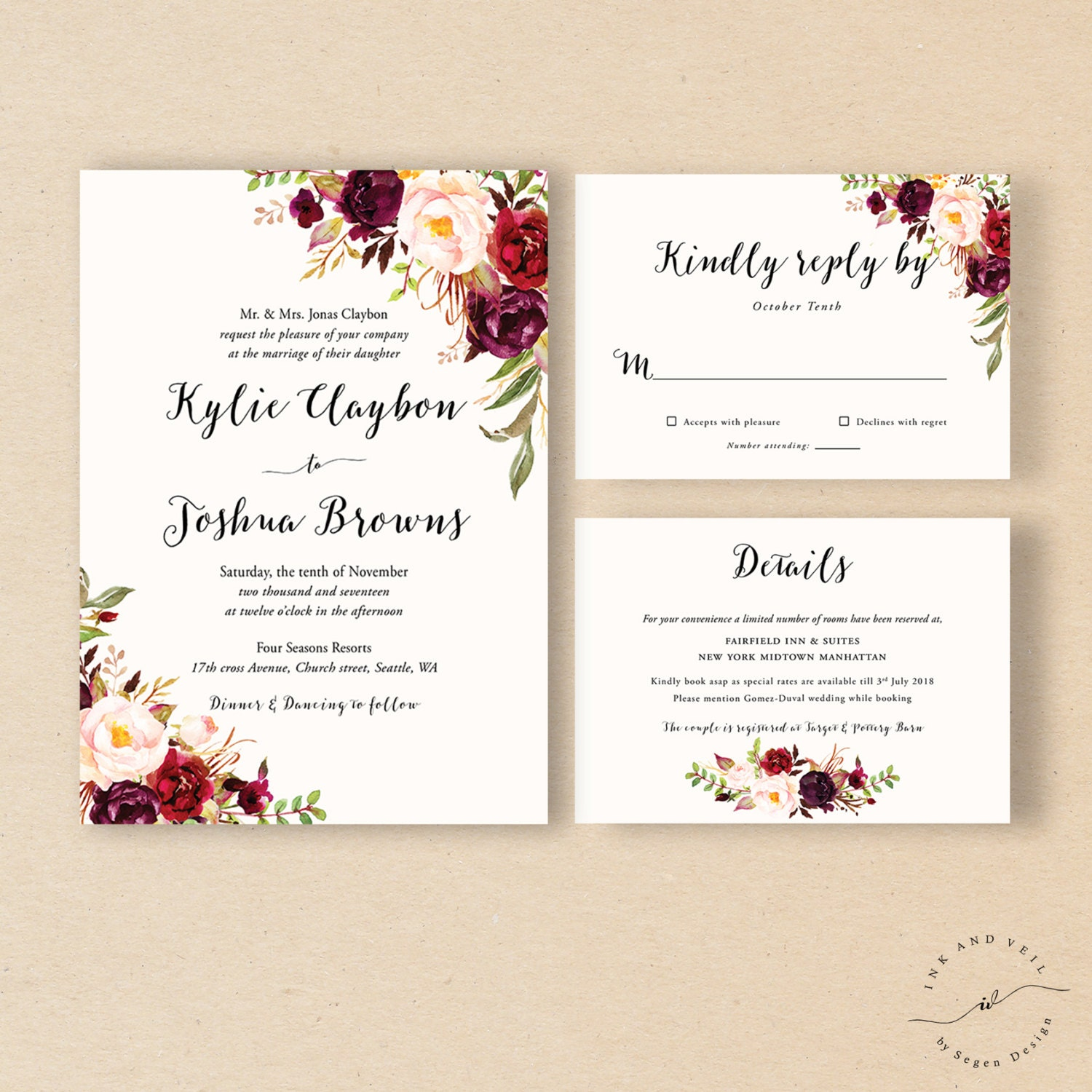 Bohemian Wedding Invitation Suite Fall Wedding Invitation