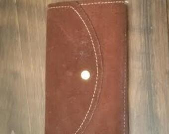 Vintage Wallet - Leather Wallet - Vintage Leather Wallet - Bohemian Style Womans Wallet - Suede Wallet - Suede Billfold  - Brown Suede