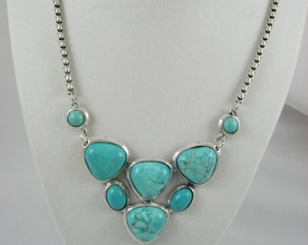 Turquoise Necklace Turquoise Jewelry Silver Necklace Statement Jewelry Silver Turquoise Necklace Fashion Jewelry Turquoise  Howlite