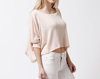 T2317 3/4 Dolman Batwing Sleeve Round Neck Loose Boxy Fit Low Gauge Sweater Crop Top  (Made in USA)