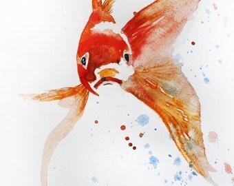 Sale ORIGINAL Watercolor Painting, little Koi Fish, Gold Fish, Sea Goldfish, Girt for her, red Fish, Ocean Shubunkin, Ocean life Decor OOAK