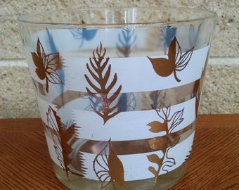 Vintage Ice Bucket with Gold Leaves and White Stripes - Mid Century Modern  Bar Ware - Glass