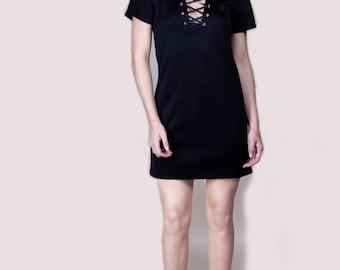 Lace up black dress