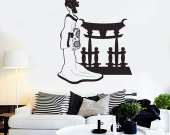 Wall Vinyl Decal Geisha Japan Japanese Oriental Cool Decor 2254di