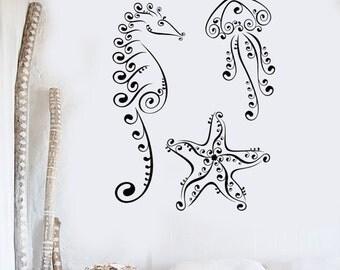 Wall Vinyl Decal Ocean Sea Marine Sea Horse Jelly Fish Decor 2367di