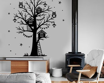 Wall Vinyl Decal Fairytale Tree Lantern Owl Romantic Stars Amazing Decor 1394dz