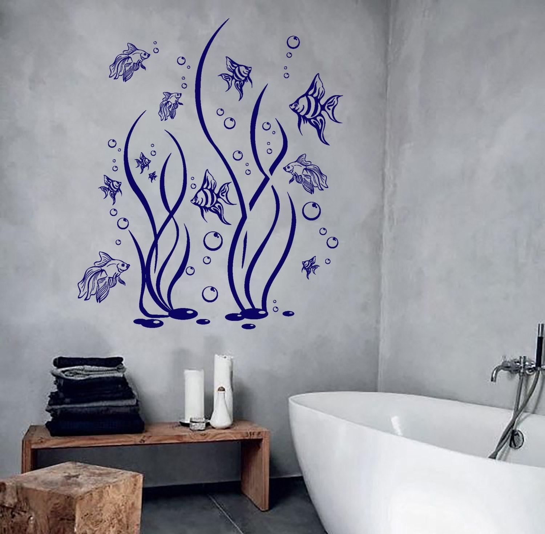 Wall Vinyl Decal Bathroom Decor Fish Seaweed And Bubbles