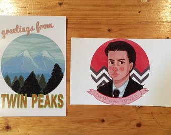 Postcard-Size Prints Twin Peaks Damn Fine Coffee SINGLE POSTCARD sized print