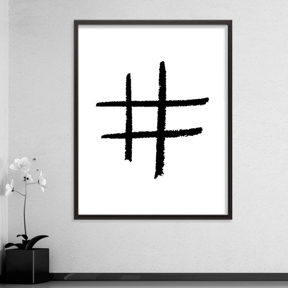 Hashtag symbol black and white printable by for Office design hashtags