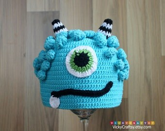 Crochet Evil Hat, Monster Hat, Handmade Baby Beanie, Photo prop