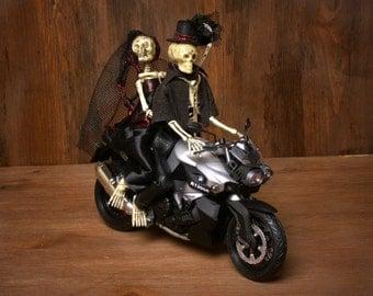 Skeleton Bridal Couple on Motorbike Wedding Cake Topper