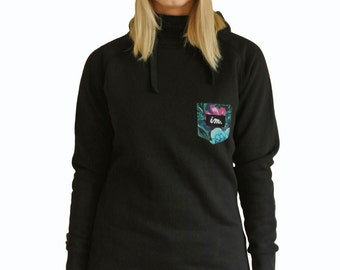 Womens Black Hoodie with Blue Floral Pocket Hoody Tall Long Snowboard Ski