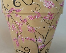 Hand painted flowerpot, cherry blossom pot, hand painted pot, painted pot, painted cherry blossoms, painted planter, outdoor pot, indoor pot