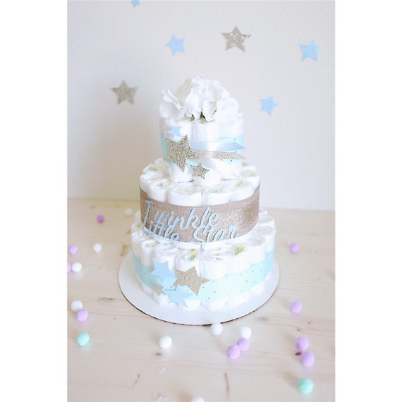 Baby Shower Decorations Toys R Us Uk ~ Twinkle little star diaper cake for baby boy gold silver