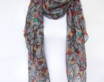 Owl Print Scarf, Gray Womens scarves, Wearable Art, Fashion Accessories, Spring Fashion Scarf, Boho Scarves, Romantic Gifts For Her