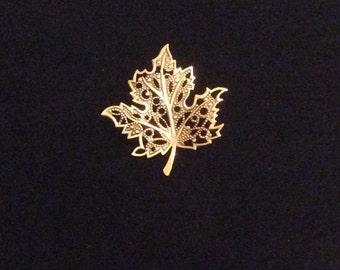 Gold-Tone Leaf Brooch, Beautiful Filigree Leaf Brooch, Leaf Pin