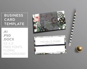 Business card template ( botanical background ) / Elegant business card design/ Modern calling card / Floral business card