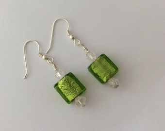 Lime green square glass beaded earrings with clear bicone beads