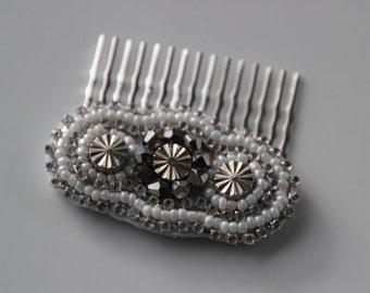 Beaded silver hair comb