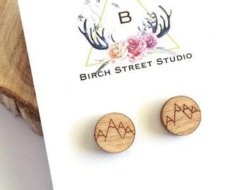 Mountain Earrings /Tiny Mountain Stud Earrings / Laser Cut Wood Earrings/ Wooden Mountain Earrings/ Wood Studs/ Mountain Jewelry/ Small Stud