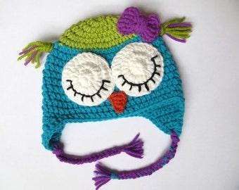Pure wool sleeping owl hat,  Crochet owl hat, Baby girl owl hat, Toddler owl hat, Adorable baby hat, Owl baby gift, Newborn girl photo prop