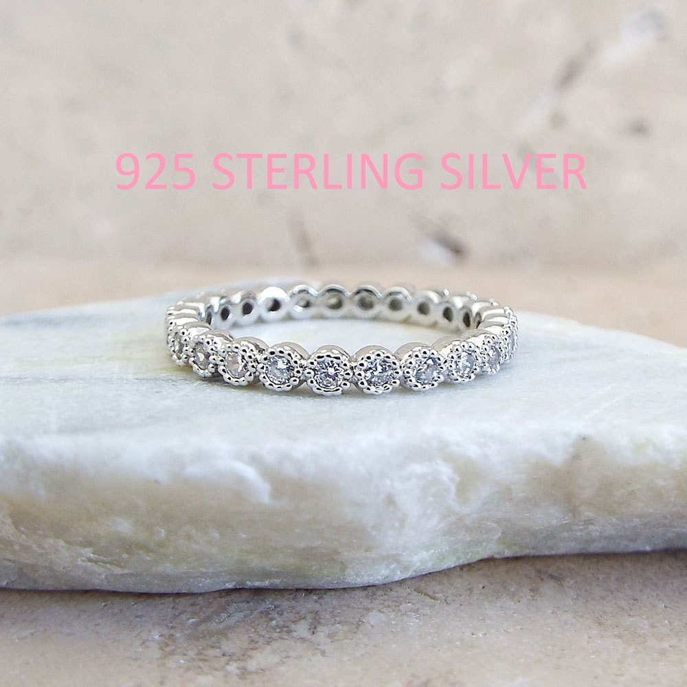 Sterling Silver 2 mm Milgrain Bezel Full Eternity Band CZ Rhodium plated Anniversary Ring CZ wedding band Promise ring Bridal stacking band