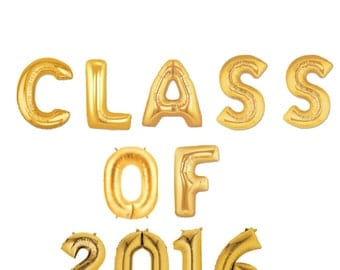 "16"" Gold Class of 2016 balloons/banner. Class of 2016. Graduation balloons. 2016 graduation. 2016 BALLOONS. College graduation. Highschool."