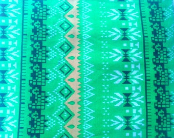 Tribal printed cloth bohemian fabric Hippie Indian cotton Ikat pattern Green boho tote organic herbal dyes quilting home decor for cushion