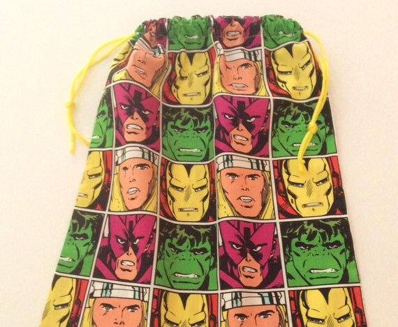 Last One! The Avengers/Superheroes, Library Bag,Large Drawstring, Hand Made 45 x 36cm