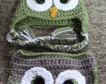 Green and Grey Owl Ear Flap Hat and Diaper Set, Owl Hat, Crochet Baby Photo Prop, Owl Ear Flap Hat, Owl Baby Diaper set, Baby Diaper Set