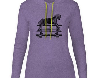 Mintage Antique Rocking Horse  Womens Fine Jersey Hooded T-Shirt