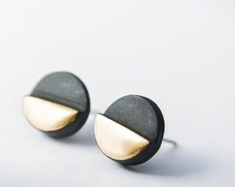 mens earrings, OOAK jewelry, one of a kind jewelry, porcelain jewelry, stud earrings men, black and gold earring, round earrings, SE004