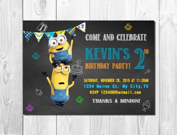 Minions Invitation, Minions Birthday Invitation, Minions Despicable Me Invitation, Despicable Me Birthday Party
