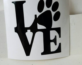 Love puppy paw print decal, dog decal, puppy love paw print decal, Window decal, paw print vinyl decal, dog vinyl decal, Dog lover decal