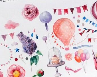 Planner Stickers Watercolor Birthday Party for Erin Condren, Happy Planner, Filofax, Scrapbooking