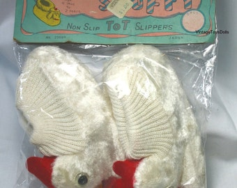 Vintage 1960's Children's Fluffy Scuffy Rooster Slippers MIP