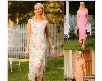 Handkerchief Hem Dress Sewing Pattern UNCUT McCalls M4372 Miss Size 10-16 Summer Glam