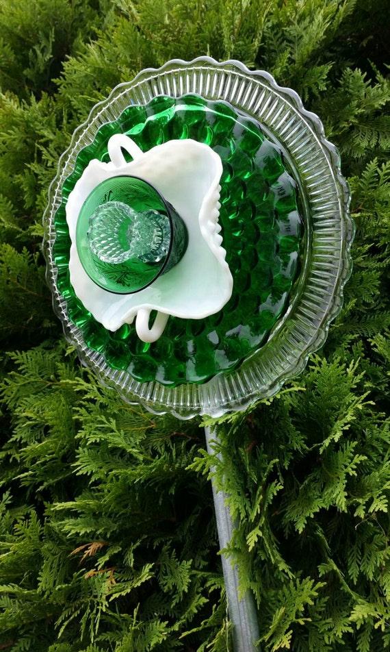 Ooak upcycled flower garden decor vintage glass suncatcher for Upcycled yard decor