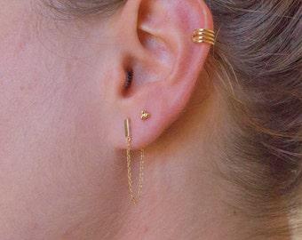 Gold chain earrings - gold bar earrings - gold earrings - gold dangle earrings
