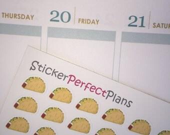 Taco Night Stickers for Erin Condren LifePlanners, PlumPaper, Filofax, etc (Matte, Repositional, Printed+Kiss Cut)