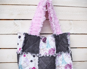 Eiffel Tower Grey Pink Handmade Quilted Rag Purse