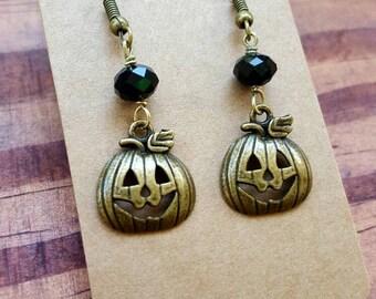 pumpkin earrings, Halloween earrings, Jacko lantern earrings, Halloween jewelry, pumpkin jewelry, free shipping